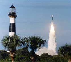 Cape Canaveral Lighthouse and Space Launch